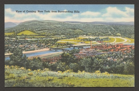 Postcard, View of Corning New York from Surrounding Hills, Boston: Tichnor Bros., Inc., about 1930-44. The Corning Museum of Glass, Corning, New York (CMGL 167595)